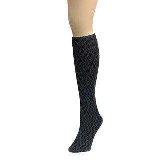 Memoi Women's Exotic Diamond Opaque Knee High
