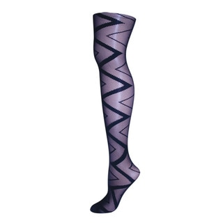 Memoi Women's Zig Zag Sheer Tights