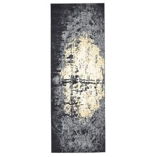 Grand Bazaar Milania Charcoal Power-loomed Runner Rug (2'10 x 7'10)