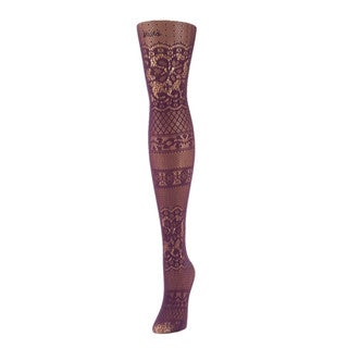 Memoi Women's Floral Patch Net Tights