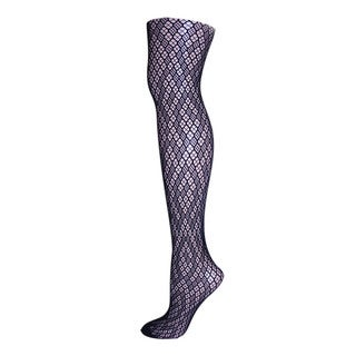 Memoi Women's Checkered Diamonds Net Tights