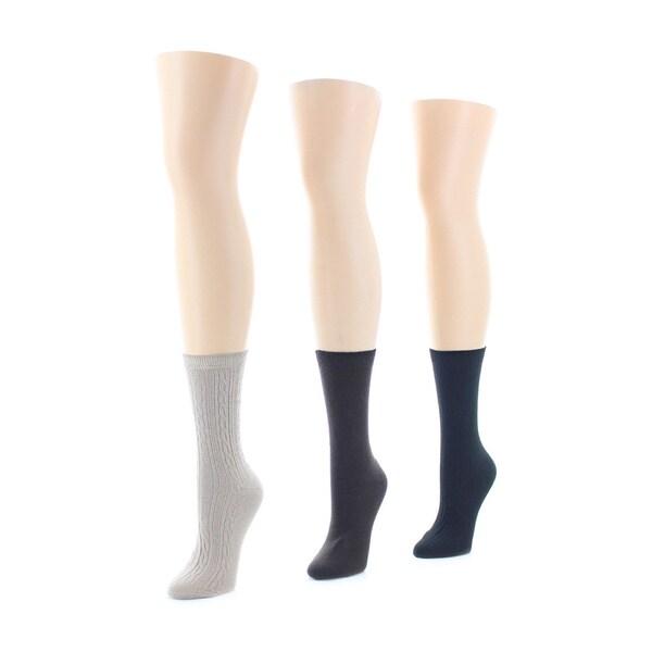 3a5bd1e3ab8 Shop Memoi Women s Rib Flatknit Texture Crew Socks (Pack of 6 ...