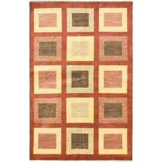 ecarpetgallery Peshawar Ziegler Beige and Orange Wool Rug (5'6 x 8'9)
