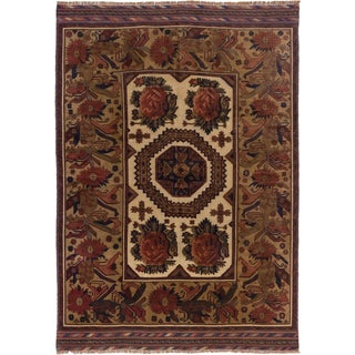 ecarpetgallery Tajik Caucasian Beige and Brown Wool Rug (6'6 x 9'1)