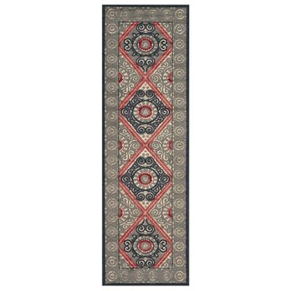 Grand Bazaar Azize Cream Charcoal Runner Rug (2'6 x 8')