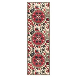 Grand Bazaar Azize Cream Nutmeg Power-loomed Runner Rug (2'6 x 8' )