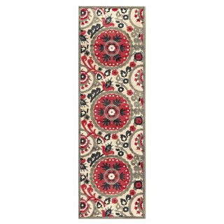 Grand Bazaar Azize Cream Nutmeg Runner Rug (2'6 x 8')