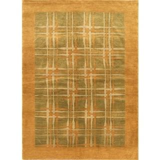 ecarpetgallery Finest Ziegler Chobi Beige and Green Wool Rug (5'8 x 8)