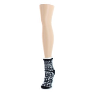 Memoi Women's Fairisle Sherpa Lined Lounge Sock