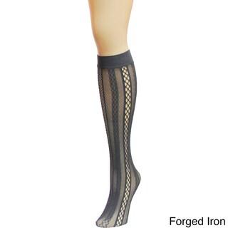 Memoi Women's Panel Symmetry Net Knee High (Option: Forge Iron)