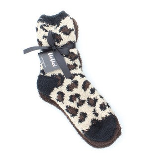 Memoi Women's Leopard/Solid Cozy Crew (Pack of 2)
