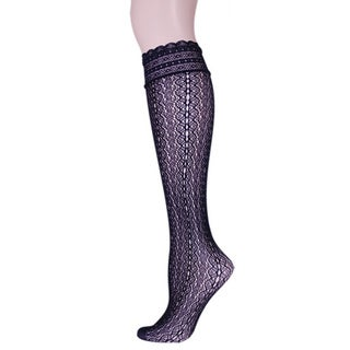 Memoi Women's Ornate Net Knee High