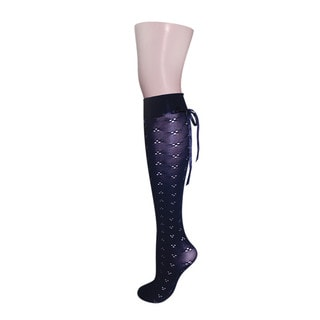 Memoi Women's Pointelle Back Tie Knee High
