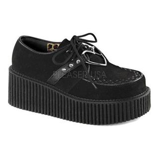 Women's Demonia Creeper 206 Creeper Black Vegan Suede/Vegan Leather