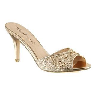 Women's Fabulicious Lucy 01 Heeled Slide Gold Glitter Mesh Fabric