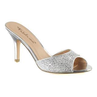 Women's Fabulicious Lucy 01 Heeled Slide Silver Glitter Mesh Fabric