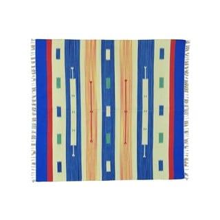 Square Flat Weave Kilim Hand-woven Design Rug (5'10 x 6'2)