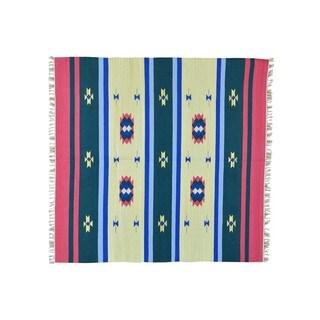 Square Flat Weave Kilim Hand-woven Southwest Design Rug (6' x 6'1)