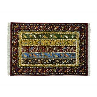 Wool Paisley Shawl Design Hand-knotted Oriental Rug (4'1 x 6')
