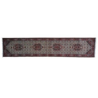 Bidjar Mahi Wool and Silk Handmade Oriental Runner Rug (2'9 x 13'5)