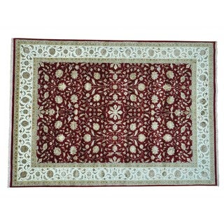Kashan Wool and Silk 300 KPSI Hand-knotted Rug (8'6 x 12')