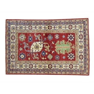 Super Kazak Tribal Design Wool Handmade Oriental Rug (4' x 5'10)