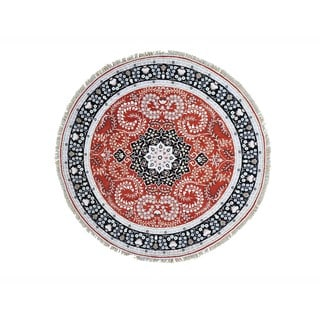 Red Silken Kashan Round Hand-knotted Oriental Rug (6'5 x 6'7)