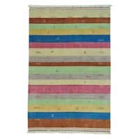 Striped Modern Loomed Gabbeh Wool Oriental Rug - Multi