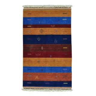 Modern Loomed Gabbeh Striped Wool Oriental Rug (3'10 x 6')