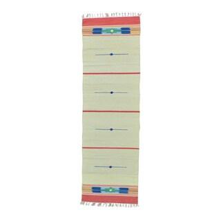 Hand-woven Flat Weave Kilim Design Runner Rug (2'6 x 8')