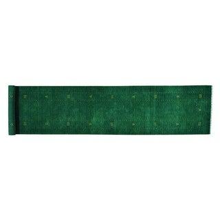 Modern Folk Art Loomed Gabbeh Xl Wool Runner Rug (2'8 x 13')
