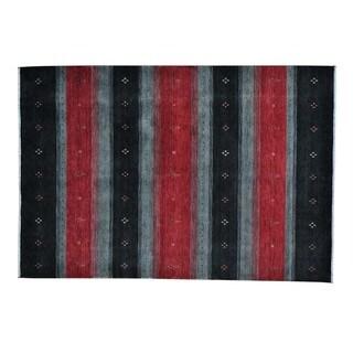 Multicolored Modern Loomed Gabbeh Wool Rug (5'6 x 8')