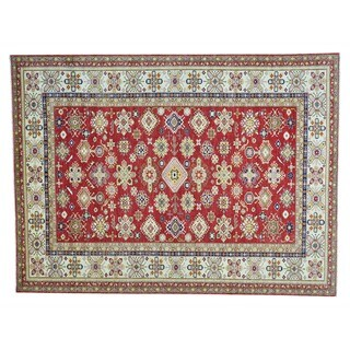 Tribal Design Hand-knotted Red Super Kazak Wool Rug (9' x 12')