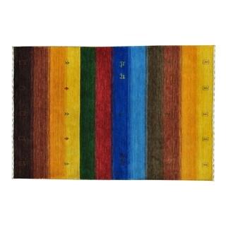 Multicolored Modern Loomed Gabbeh Wool Oriental Rug (4' x 6')