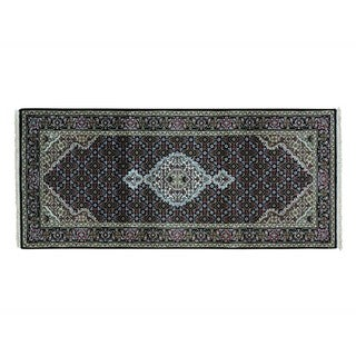 Tabriz Mahi 250 KPSI Wool and Silk Handmade Runner Rug (2'8 x 6')