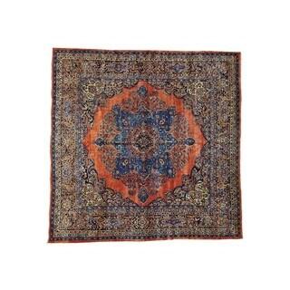Rust Red Antique Persian Sarouk Full Pile Square Rug (12' x 12'2)