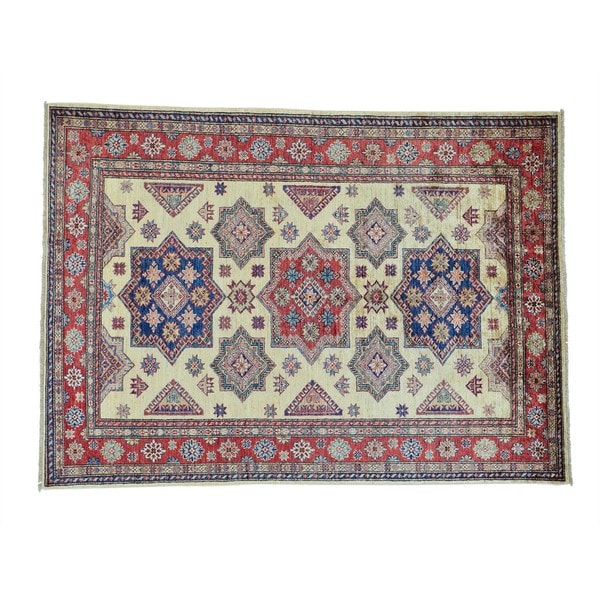 Geometric Design Super Kazak Wool Handmade Rug (5'8 x 8')