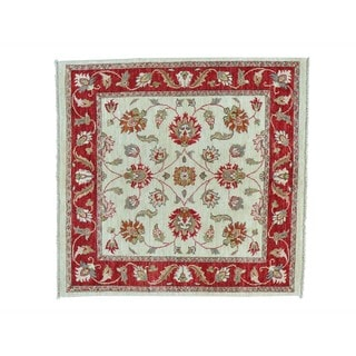Square Peshawar Hand-knotted Wool Oriental Rug (4'2 x 4'3)
