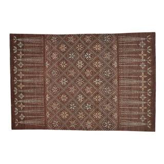 Peshawar Chocolate Brown Hand-knotted Wool Oriental Rug (6' x 9')