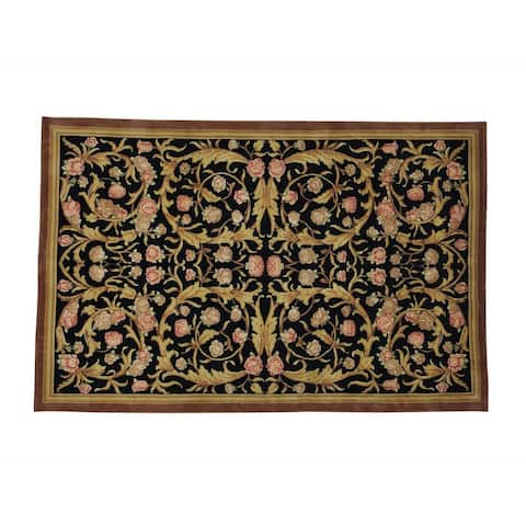 Black Savonnerie Floral Design Wool Hand-knotted Rug (5'8 x 8'9)