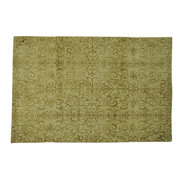 Hand-knotted Damask Design Wool and Silk Oriental Rug (6' x 9')