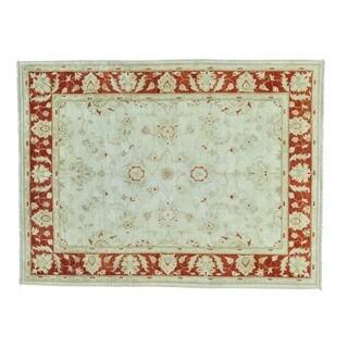 White Wash Peshawar Hand-knotted Wool Oriental Rug (5'1 x 6'8)