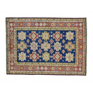 Super Kazak Geometric Design Wool Hand-knotted Rug (5' x 7')