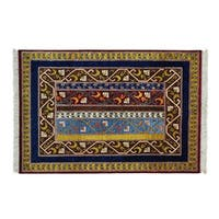 Colorful Shawl Design Wool Hand-knotted Oriented Rug (4' x 6')