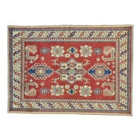Wool Kazak Hand-knotted Tribal Design Red Rug (4'8 x 6'4)