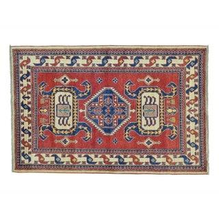 Wool Tribal and Geometric Design Kazak Handmade Rug (4'4 x 6'7)