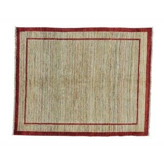 Hand-knotted Wool Natural Dyes Modern Gabbeh Rug (5' x 6'3)