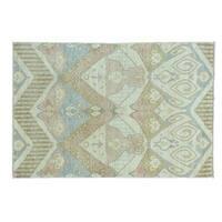 Wool Ikat Uzbek Design Hand-knotted Oriental Rug (4'2 x 6'2)