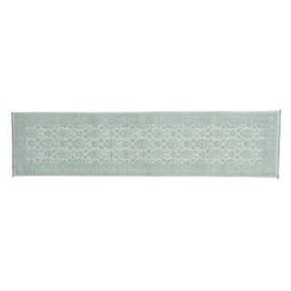 Wool Peshawar Washed Out Hand-knotted Runner Rug (2'7 x 10'5)