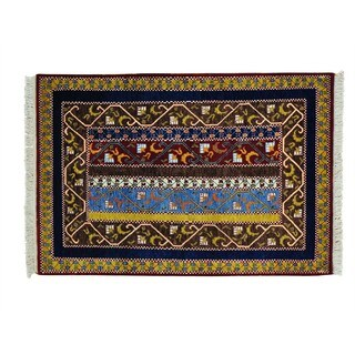 Paisley Shawl Design Wool Hand-knotted Oriental Rug (4'1 x 6'2)